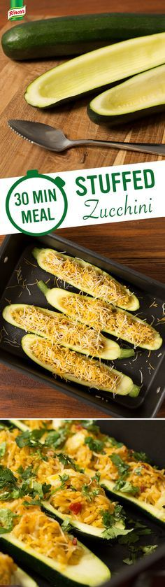 Make Knorr's Stuffed Zucchini tonight! 1. Preheat oven to 375° 2. Scoop out vegetable pulp & cook in heated oil 3. Make Knorr® Fiesta Sides™ Mexican Rice & fill zucchini, sprinkling with cheese 4. Bake & serve this garden inspired, simple dish.