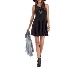 Charlotte Russe Black Sleeveless Crochet Yoke Skater Dress by... (102.815 COP) ❤ liked on Polyvore