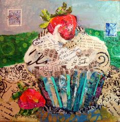 """Nancy Standlee Fine Art: Cupcake Torn Paper Collage Painting, Arles: City in France, 12084 and Daily Paintworks """"Artist Spotlight and Giveaway"""" by Texas Daily Painter Nancy Standlee Food Collage, Paper Collage Art, Paper Art, Decoupage, Daily Painters, Ecole Art, Torn Paper, Cupcake Art, Contemporary Abstract Art"""