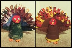 My son & I made these little turkeys. Cute & fun craft to do for Thanks Giving. All you need is a styrofoam cup, pom poms, paper plates, & paint. Foam & googly eyes are optional.