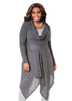 Cowl Neck Sharkbite Sweater Cowl Neck Sharkbite Sweater.  Figure flattering fabulous clothing that fit & accessories for a woman with a (big) beautiful body built. visit: http://www.myeconmall.com/index.php?r=a53sdxK8X7z1a43z