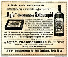Original-Werbung/ Anzeige 1917 - AGFA TROCKENPLATTEN / RODINAL ENTWICKLER - ca. 155 x 120 mm