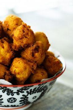 Polish Hush Puppies - | Kielbasa, Sauerkraut, Onion and Cheddar Fried Cornbread Bites