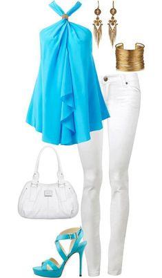 Bluza celeste y pantalon blanco, buena combinacion :-)