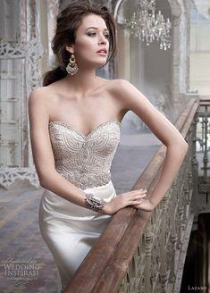 Sexy bodice stitch detailing on curvy form fitting satin dress -- lazaro wedding dresses 2012 - style 3214