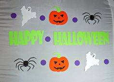 Happy Halloween Banner with Ghosts, Spiders, & Jack-o-Lanterns