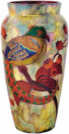 Zsolnay: Vase with a bird of paradise