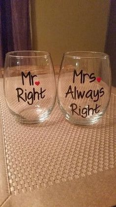 Mr. Right and Mrs. Always Right hand-painted wedding wine glasses #wineglasses