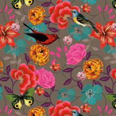 Bebel Franco. Fabulous floral and feathered friend print! Love it. #patterns #prints