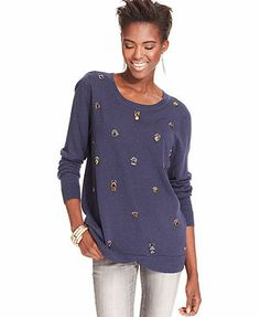 Bar III Sweater, Long-Sleeve Beaded-Front