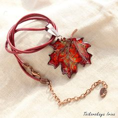 Pendant maple leaves Maple Leaf Necklace Autumn by Tsikorskaya