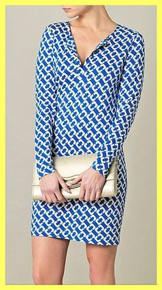 NWT $348 DIANE VON FURSTENBERG DVF REINA BLUE CHAIN SILK TUNIC DRESS Sz 10 8 M #DVF #Tunic