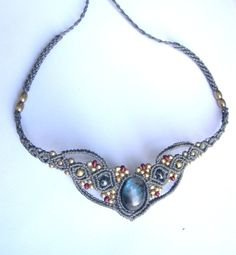 Fairy Macrame Tiara or Necklace Labradorite Choker by MagicKnots, wish it was s in green with blue accents. Maybe dichroic glass