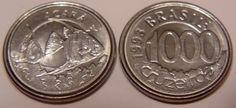 Cruzeiro brasileiro (1990-1993) (x) 1000 cruzeiros (1992-1993) O: dois peixes acará e em português o nome dos peixes/R: valor e o nome do país em português;
