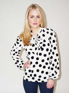 Cream Black Polka Dot Pussy Bow Long Sleeve Blouse Shirt Top Sizes 8 10 12 14 | eBay $33
