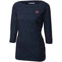 Women's Chicago Bears Cutter & Buck Navy Holly Park Tonal Stripe 3/4-Sleeve Knit T-Shirt