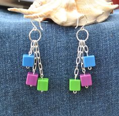 Geometric earrings repurposed earrings by Rocks2Gems2Wire on Etsy