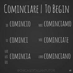 tempo verbal presente do verbo cominciare (iniciar ..um bom começo io, tu, lui, lei, noi, voi, loro)