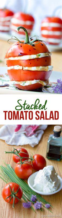 Fresh 5-Ingredient Stacked Tomato Salad   ASpicyPerspective.com