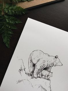 Bear Art Print, Mother and Baby Bear, Woodland Ink Illustration, Bear Decor, Bear Artwork, Animal Art Print by Raahat Kaduji - @raahatventures - raahatillustration.etsy.com