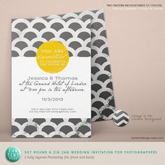 Shop for on Etsy, the place to express your creativity through the buying and selling of handmade and vintage goods. Zig Zag, Rsvp, Announcement, Wedding Invitations, Templates, Engagement, Creative, Fun, Handmade