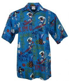 Pidgin English Hawaiian Aloha Shirt in Turquoise