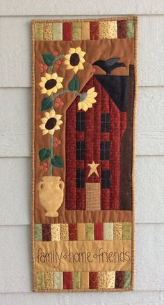 Fall Quilted Wall Hanging Banner Black Crow Sunflowers Hand