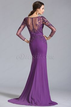 Look stylish with eDressit affordable long evening dresses, modern prom dresses and unique design formal party dresses. Best price and high quality dresses for you. Purple Evening Gowns, Long Evening Gowns, Formal Evening Dresses, Dress Formal, Lace Dress Styles, Mom Dress, Lace Dress With Sleeves, Straight Dress, Beautiful Gowns