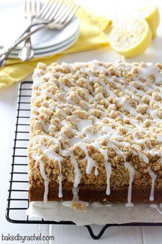 Moist lemon crumb coffee cake with sweet lemon glaze recipe from @bakedbyrachel