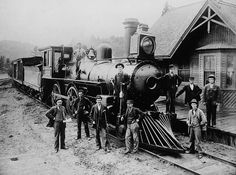 Steam Locomotive and crew at railway station in Gracefield, Quebec - ca.1890  ::  Library and Archives, Canada  PA-16456