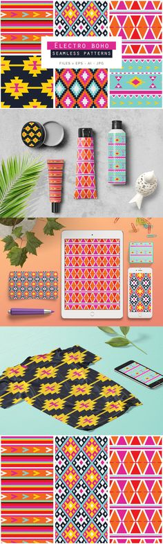 Electro Boho Seamless Patterns - A great set of 6 Electro Boho Seamless Vector Patterns. These beautiful co...