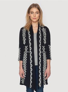 Tracy 3/4 Sleeve Novelle Draped Coat - Plus Sizes The Plus Size JWLA TRACY ¾ SLEEVE NOVELLE COAT is a timeless layering piece! This embroidered cotton cardigan coat features an open draped front and is adorned with a dense white geometric embroidery design along the front and back. Throw the Plus Size TRACY ¾ SLEEVE NOVELLE COAT on over any outfit for an added layer of warmth that's both chic and comfortable!  - Cotton - ¾ Length Sleeves, Open Draped Front - Signature Embroidery - Care…