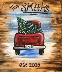 christmas paintings Join us at Pinots Palette - Brier Creek on Sat Nov 2018 for Little Red Truck- Wood Pallet. Seats are limited, reserve yours today! Black Christmas, Christmas Rock, Christmas Signs, Christmas Truck With Tree, Outdoor Christmas, Christmas Cookies, Winter Painting, Diy Painting, Painting On Wood