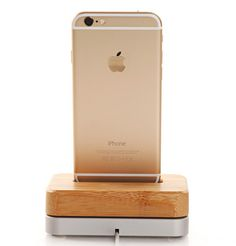 eimolife® Bamboo Wooden Aluminum Charger Dock Tray Stand Charging Station For Apple iPhone 6 Plus 5S 5C 4S Wooden Phone Stands Data Cable