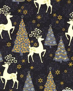 eQuilter Celebrate the Season - Reindeer Holiday - Steel Gray/Gold