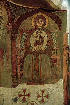 Egypt, St Antony's monastery, founded in fourth century, thirteenth century Coptic wall painting of Virgin and Child Country : Egypt Byzantine Icons, Byzantine Art, Early Christian, Christian Art, Religious Icons, Religious Art, Ancient History, Art History, Madonna