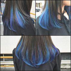 WEBSTA @ taka_yuki97 - ★インナーカラー★ブルーの中に紫の毛束を入れてあげるとより引き立って綺麗♪#美容室#girl #ブリーチ #ダブルカラー #インナーカラー #マニックパニック #カラーバター #ヘアカラー#ブルー #バイオレット #サロンスタイル #作品撮り