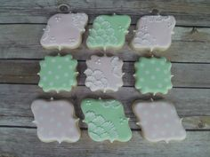 Brush embroidery polka dot delicate wedding shower decorated cookies