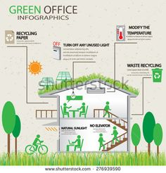 ecology green office working place infographic element and background. way to save energy. eco friendly concept. design for layout, banner, web design, brochure, template. vector illustration