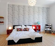 43 Bedrooms Where One Wall Features A Spectacular Wallpaper | Shelterness