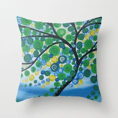 green cushions throw pillow cover with tree print by SuchFlair, $32.68