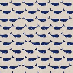 Dekorační látka velryby modré na režné