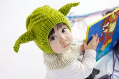 So, so, so very cute! I am getting one in an adult size! LOL! Yoda Star Wars Coverall Hat by NYrika on Etsy, $39.00