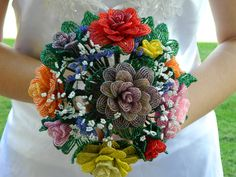 Victorian Multi Colored French Beaded Flower Bridal by BeadedFleur, $250.00