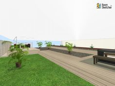 The floor is yours! If you had this space to work with, how would YOU change it??   Grass, stone, wood flooring, fencing & plant life: http://planner.roomsketcher.com/?ctxt=rs_com  3D floor plan for outdoor sitting area designed in RoomSketcher by minniminni  #floorplans #outdoors