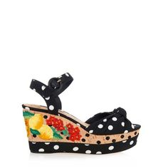 DOLCE & GABBANA Polka-dot embroidered wedge sandals (6.215 ARS) ❤ liked on Polyvore featuring shoes, sandals, heels, lullabies, black multi, black sandals, flower sandals, black heel sandals, black shoes and cork wedge shoes