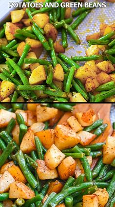 These Roasted Green Beans and Potatoes will make a great addition to your dinner table. Simple and delicious, it's the perfect side to add to any meal. FOLLOW Cooktoria for more deliciousness! If you try my recipes - share photos with me, I ALWAYS check! Green Beans And Potatoes, Roasted Green Beans, Green Bean Salads, Green Bean Recipes, Fruit Salads, Tasty Meal, Potato Recipes, Potato Dishes, Vegetarian Recipes