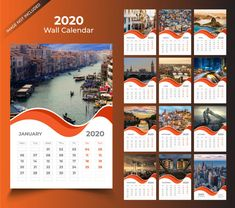 Wall Calendar For 2020 Template Desk Calender, Desktop Calendar, Calendar 2020, Calendar Design Template, Landscape Wallpaper, Vector Free, Diy Projects, Graphic Design, Templates