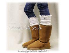 DANCE LOVE Cream Lace Leg warmers knit by LaceBootSocksbyCCole