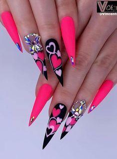 Neon Nail Art, Shellac Nail Art, Stiletto Nail Art, Neon Nails, Uv Gel Nails, Acrylic Nails, Purple Nails, Diy Nails, Acrylic Nail Designs